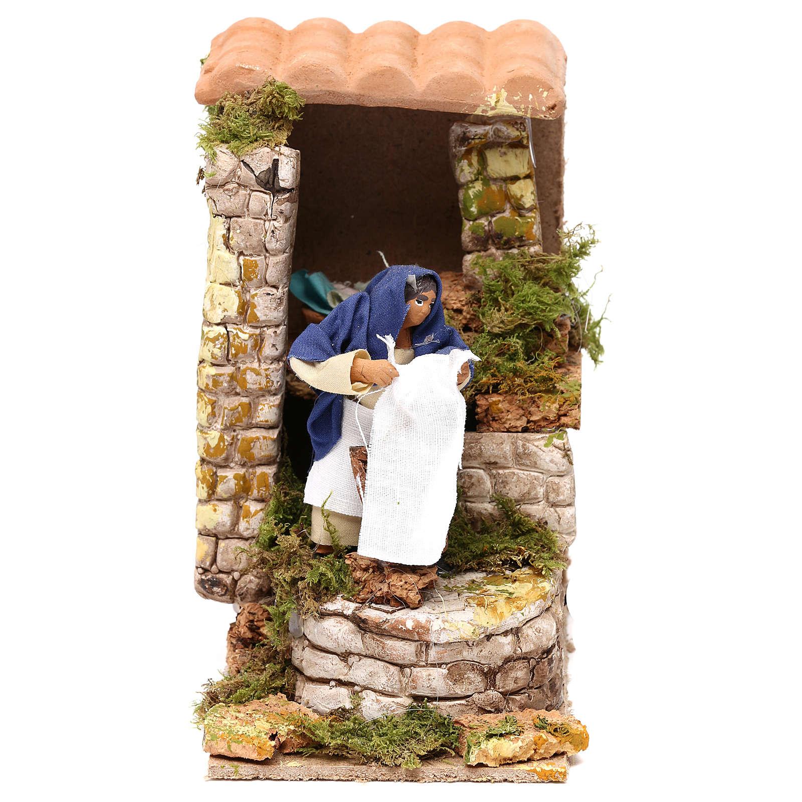 Animated nativity scene figurine, washerwoman 8cm 3