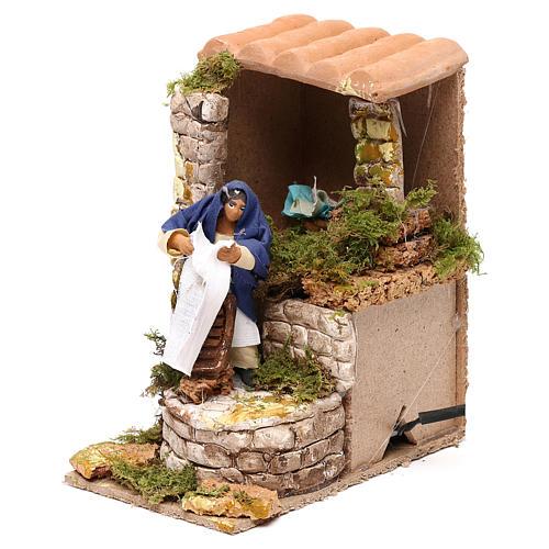Animated nativity scene figurine, washerwoman 8cm 2