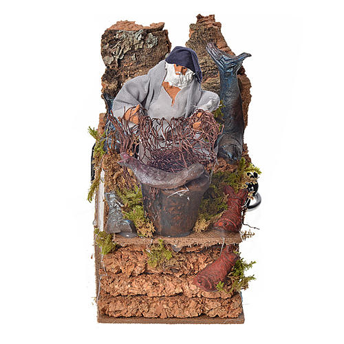 Animated nativity scene figurine, fisherman with net 8cm 1