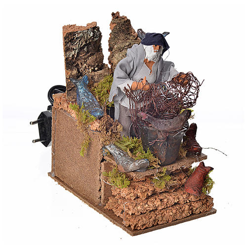 Animated nativity scene figurine, fisherman with net 8cm 2
