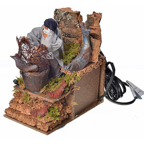 Animated nativity scene figurine, fisherman with net 8cm 3