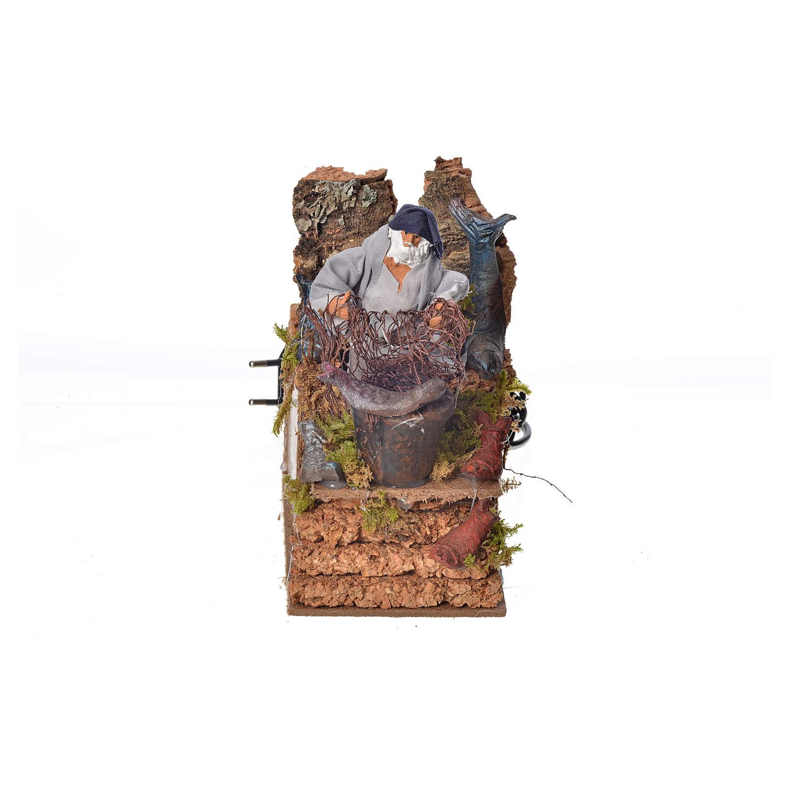 Paysans au filet animé crèche 8 cm 3