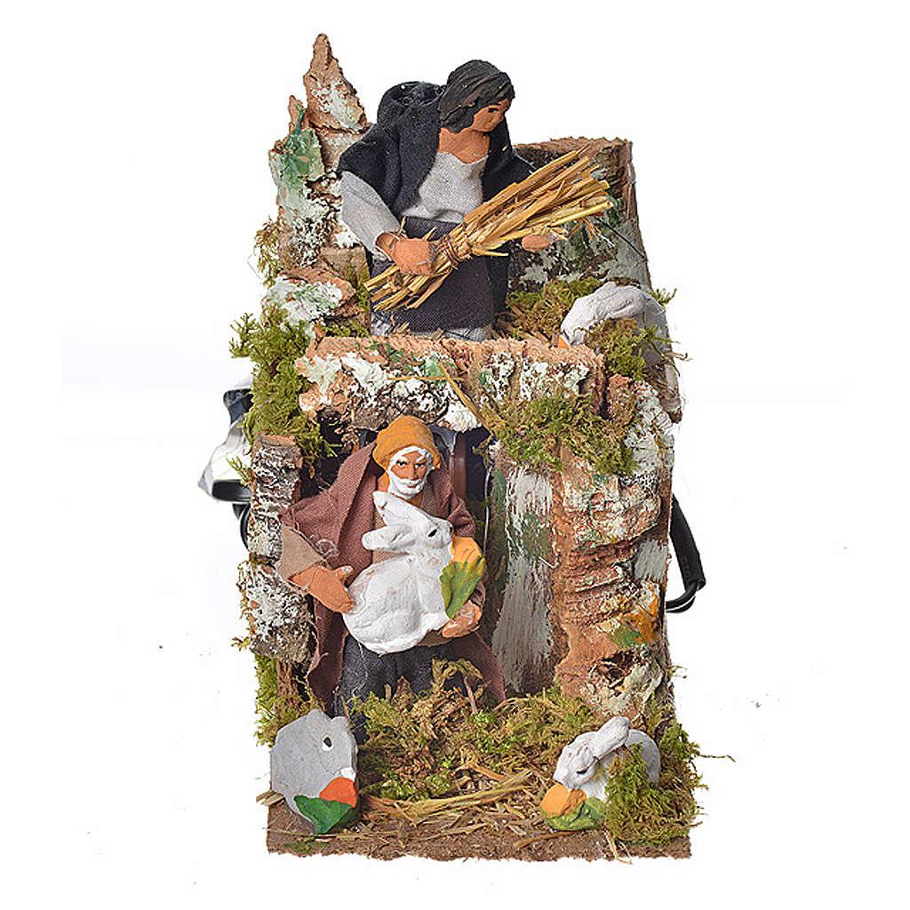 Animated nativity scene figurine, two shepherds and rabbits 8cm 3