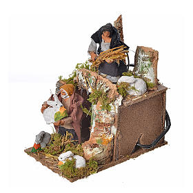 Animated nativity scene figurine, two shepherds and rabbits 8cm s3