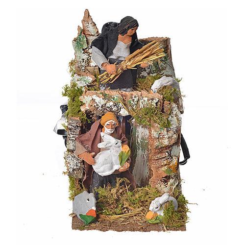 Animated nativity scene figurine, two shepherds and rabbits 8cm 1