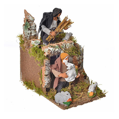 Animated nativity scene figurine, two shepherds and rabbits 8cm 2