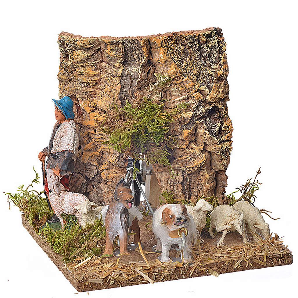 Pastore con pecore e cane 10 cm movimento 3