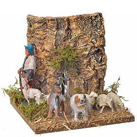 Pastore con pecore e cane 10 cm movimento s1