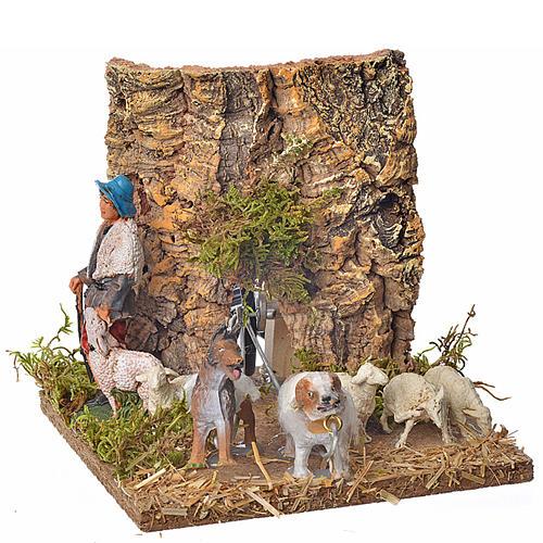 Pastore con pecore e cane 10 cm movimento 1