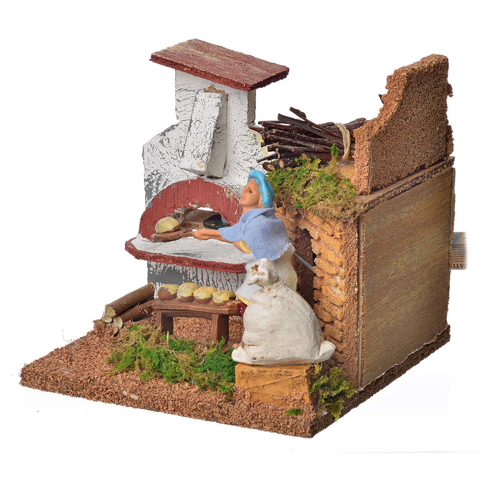 Animated nativity scene figurine, baker, 10 cm 3