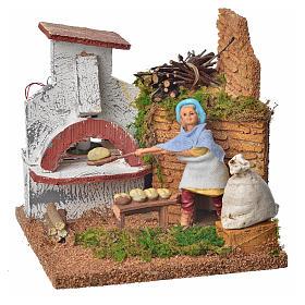 Animated nativity scene figurine, baker, 10 cm s1