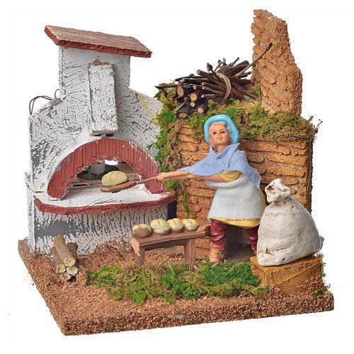Animated nativity scene figurine, baker, 10 cm 1