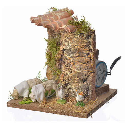 Animated nativity scene figurine, sheep browsing 12-18cm 2