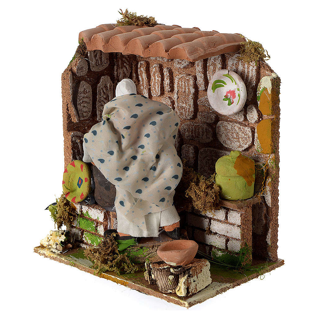 Animated nativity scene figurine, woman cooking 8cm 3