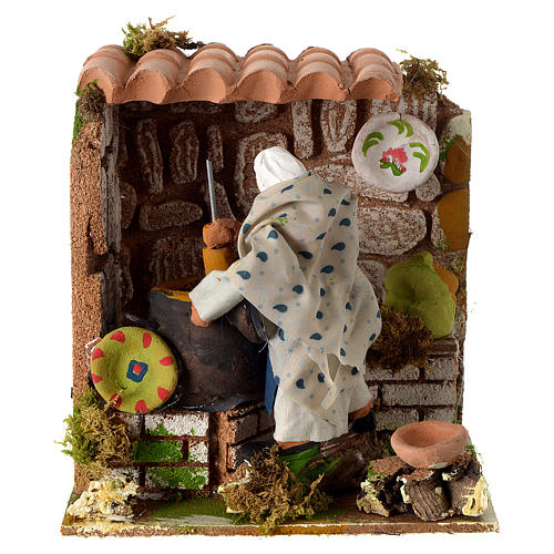 Animated nativity scene figurine, woman cooking 8cm 1