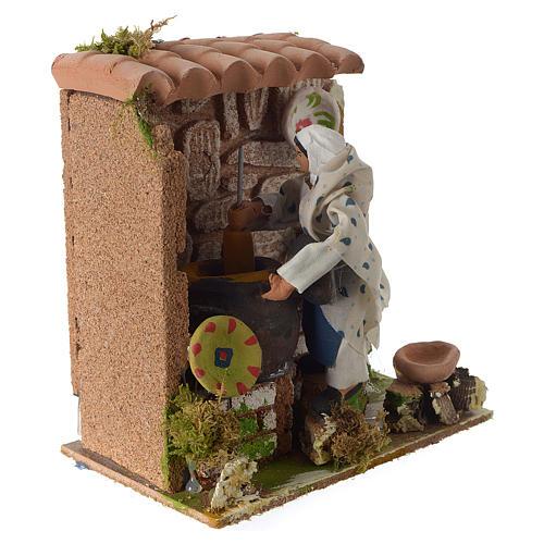 Animated nativity scene figurine, woman cooking 8cm 2