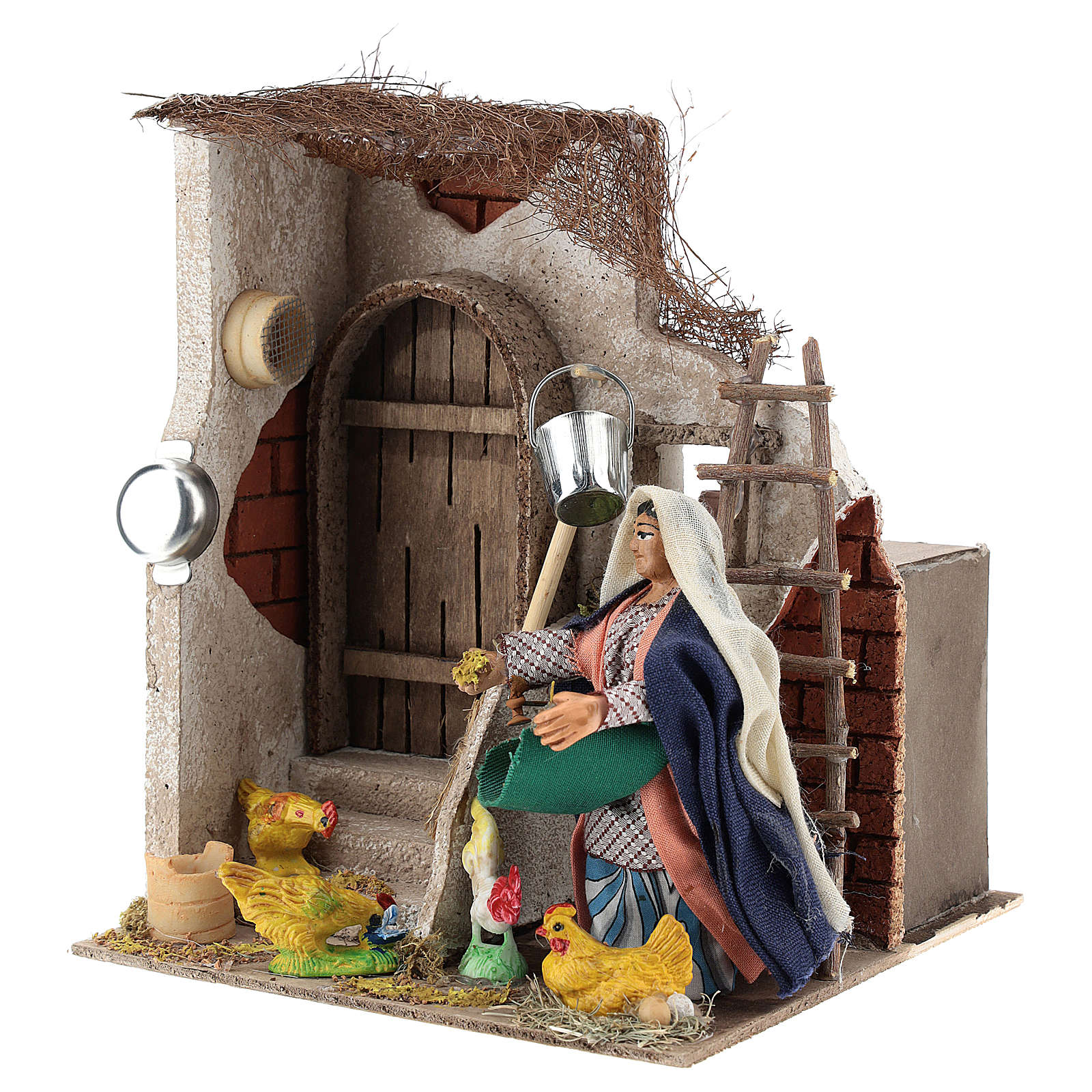 Neapolitan Nativity figurine, moving lady with hens, 10 cm 4