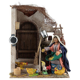 Neapolitan Nativity figurine, moving lady with hens, 10 cm s1