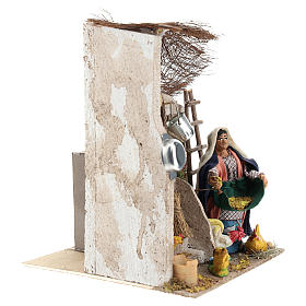 Neapolitan Nativity figurine, moving lady with hens, 10 cm s4