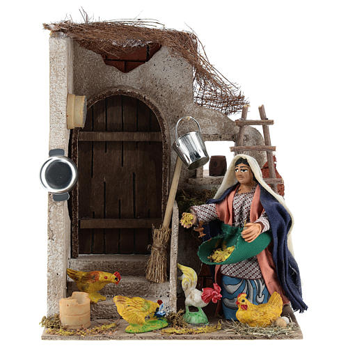 Neapolitan Nativity figurine, moving lady with hens, 10 cm 1