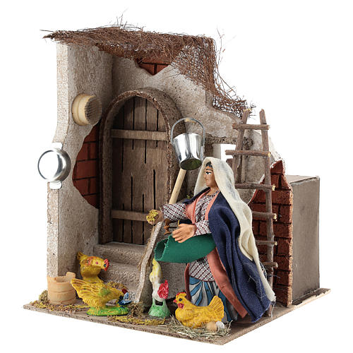 Neapolitan Nativity figurine, moving lady with hens, 10 cm 3