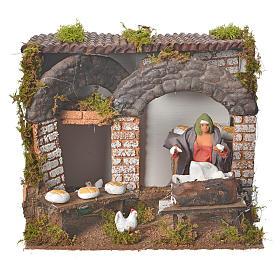 Animated nativity figurine, kneading woman 12cm s1