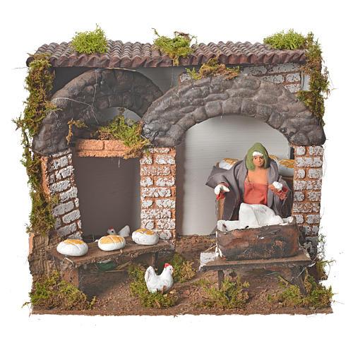 Animated nativity figurine, kneading woman 12cm 1
