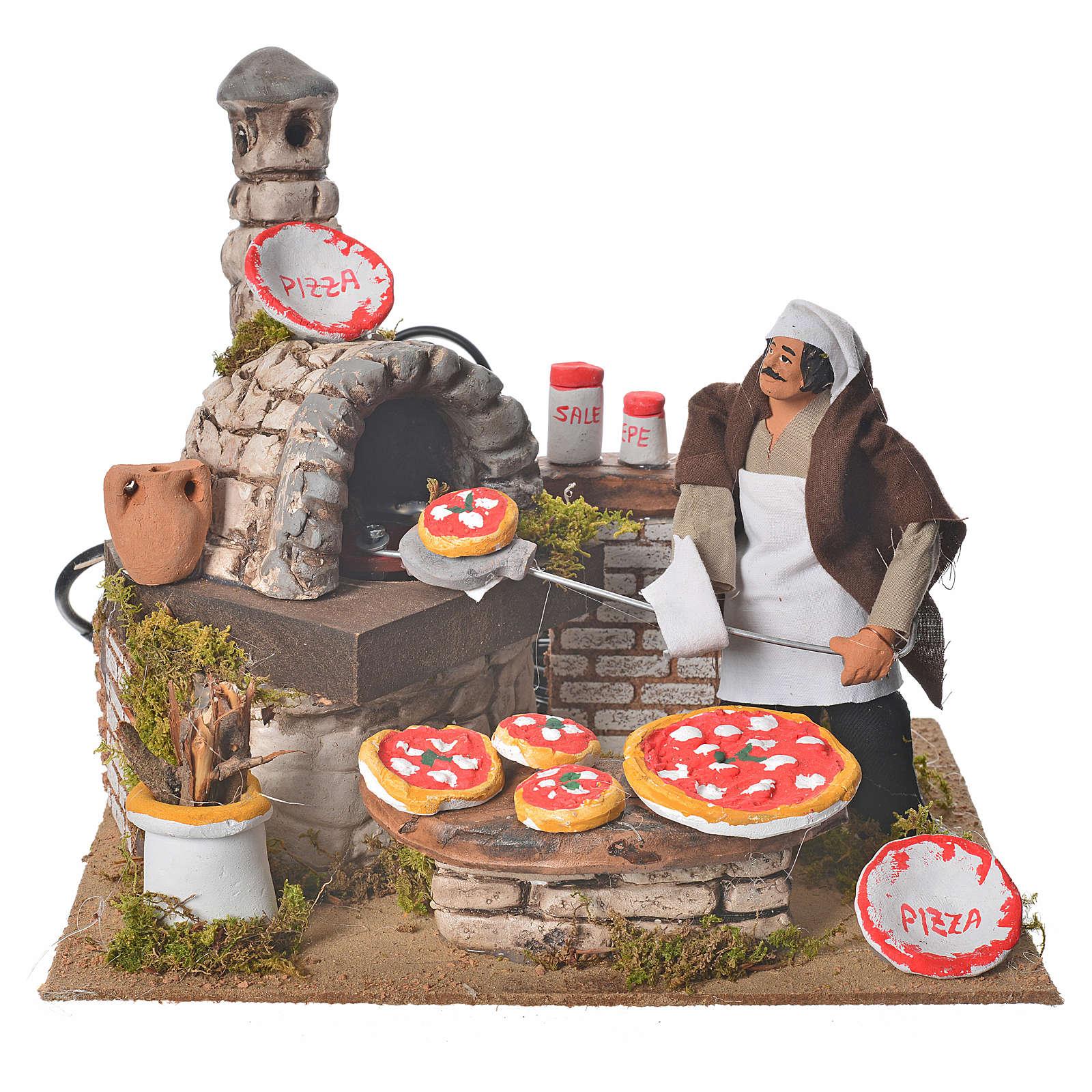 Pizzaïolo pour crèche 15 cm mouvement et ampoule 3