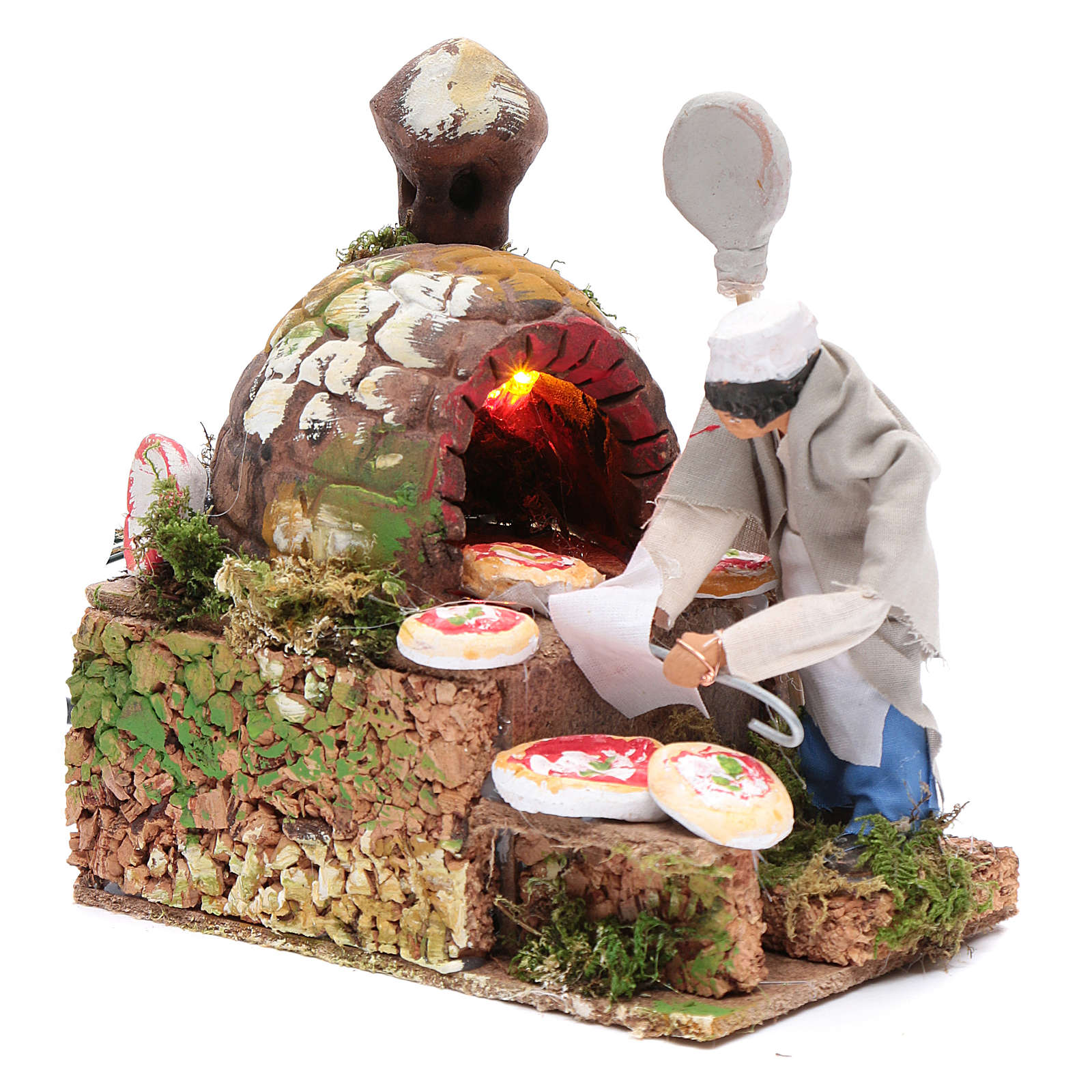 Animated nativity figurine, pizza maker in terracotta with LED 1 3