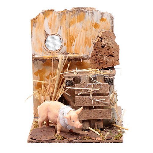 Animated nativity figurine, pig, 9cm 1