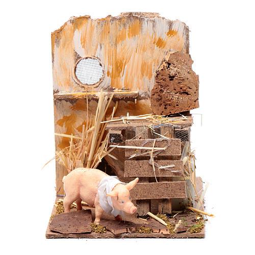Cochon crèche mouvement et cri 9 cm 1