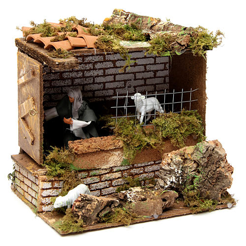 Animated nativity figurine, man opening door 12cm 3