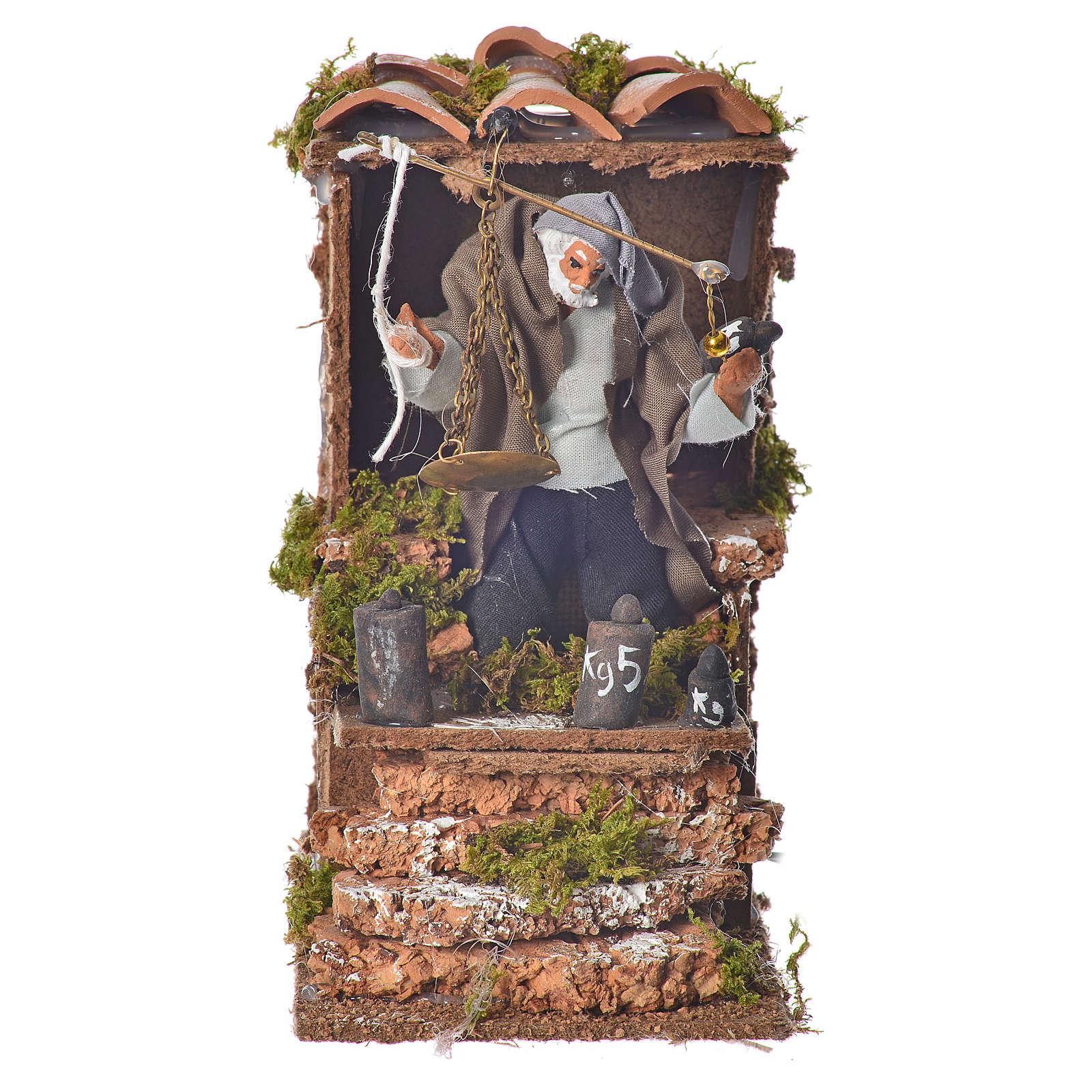 Animated nativity figurine, man with steelyard 8cm 3