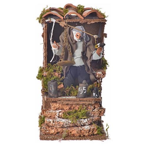 Animated nativity figurine, man with steelyard 8cm 1