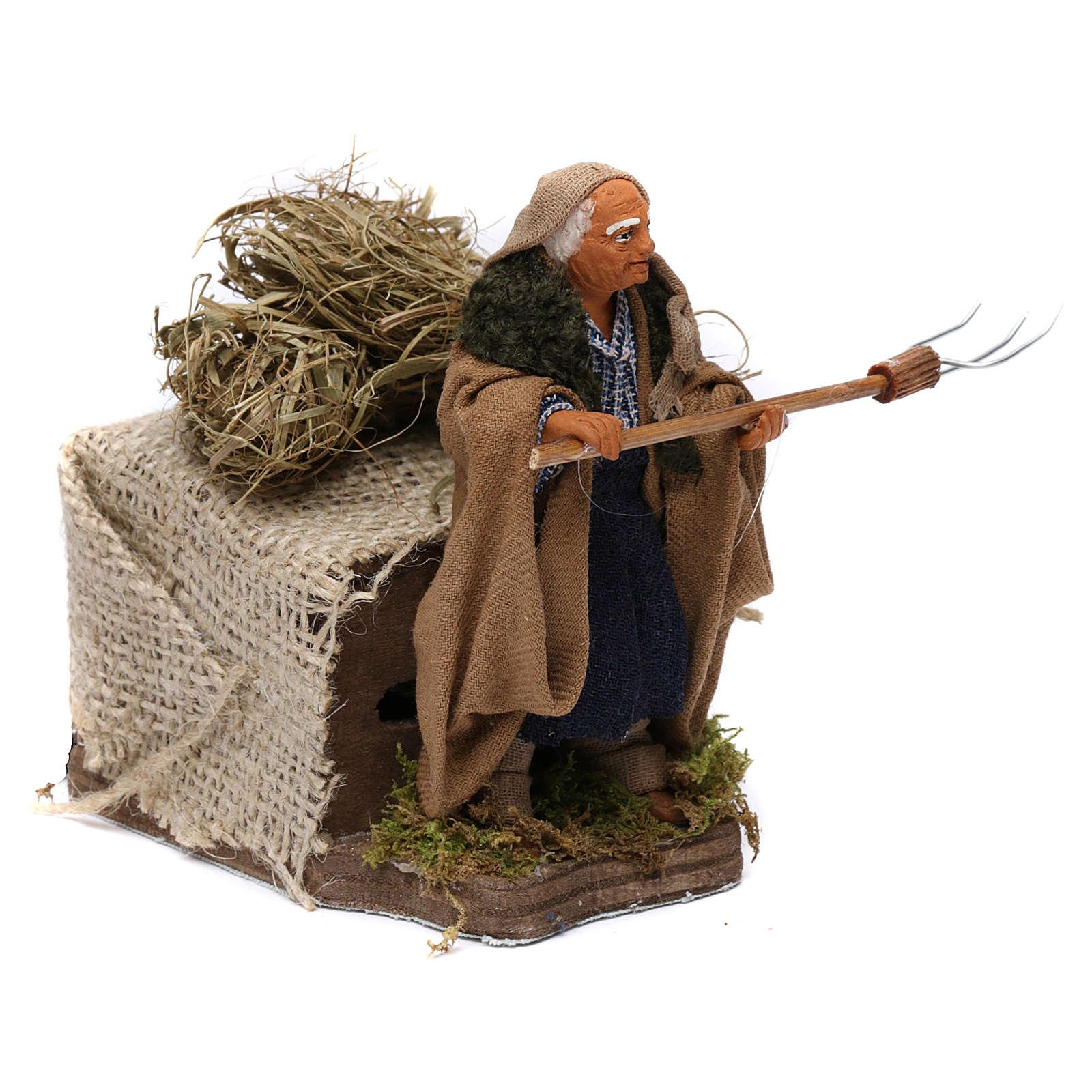 Campesino con heno 10 cm movimiento Belén Napolitano 4