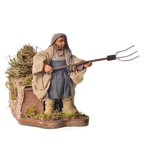 Campesino con heno 10 cm movimiento Belén Napolitano 1