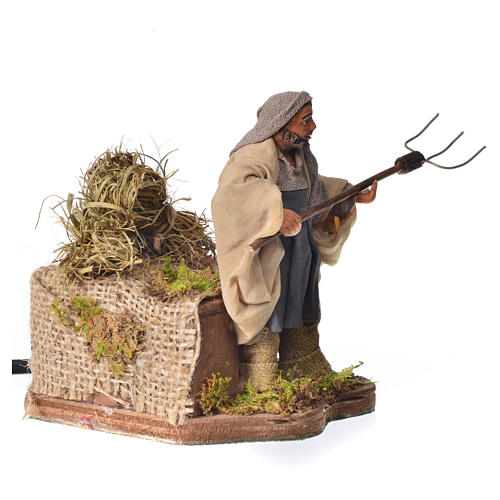 Campesino con heno 10 cm movimiento Belén Napolitano 2
