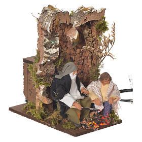 Shepherd with child, 8cm animated nativity with 2 LEDs s7