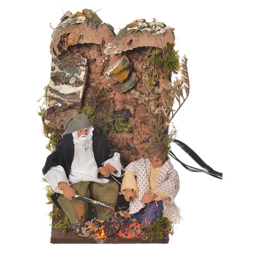 Shepherd with child, 8cm animated nativity with 2 LEDs 5