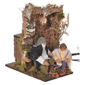Shepherd with child, 8cm animated nativity with 2 LEDs s3