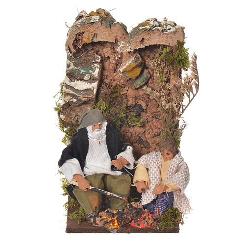 Shepherd with child, 8cm animated nativity with 2 LEDs 1