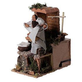 Barber, 8cm animated nativity 9x14x16.5cm s2