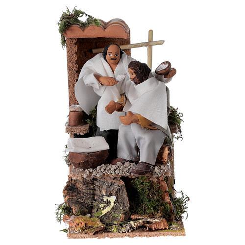 Barber, 8cm animated nativity 9x14x16.5cm 1