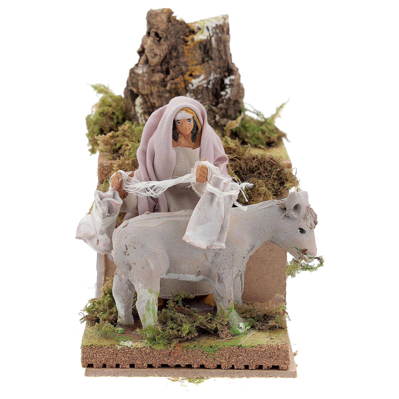 Shepherd with donkey, 8cm animated nativity 3