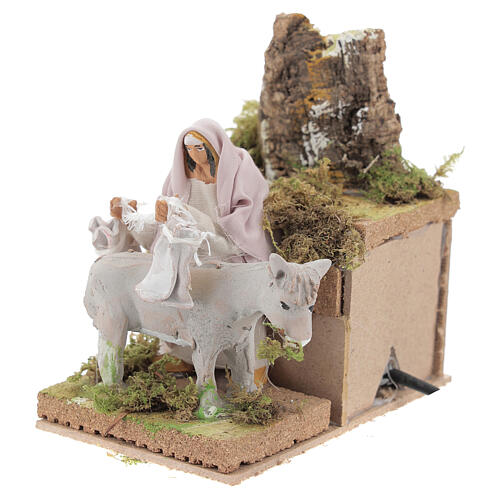 Shepherd with donkey, 8cm animated nativity 2