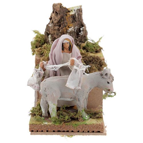 Pastor con burro 8cm movimiento Belén 1