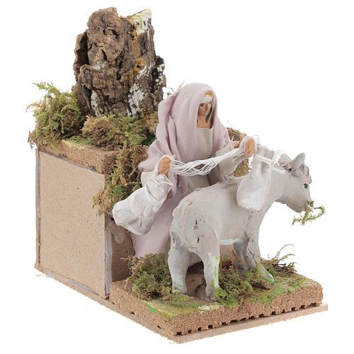 Pastor con burro 8cm movimiento Belén 3