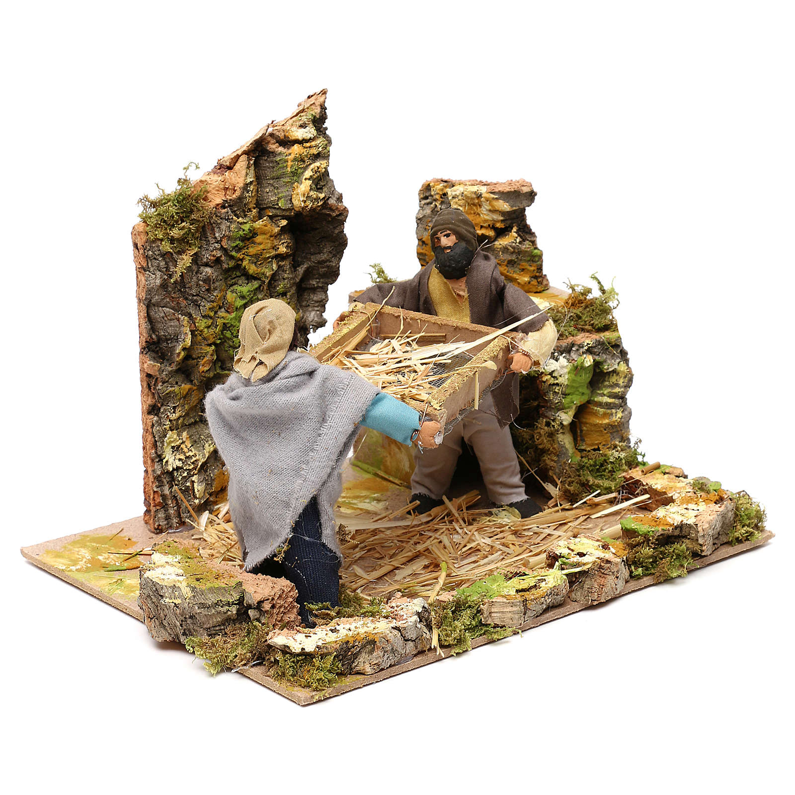 Shepherds with wheat, 12cm animated nativity 3
