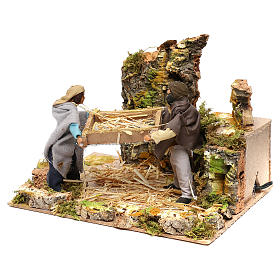 Shepherds with wheat, 12cm animated nativity s3