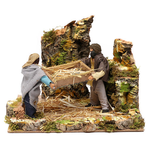 Shepherds with wheat, 12cm animated nativity 1